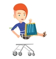 Happy woman riding by shopping trolley vector image vector image