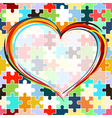 heart on seamless puzzle background vector image vector image