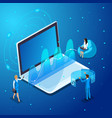 isometric businessmans work with gadgets vector image vector image