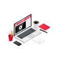 isometric online education banner vector image vector image