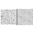 kitchen doodle hand drawn set and seamless pattern vector image