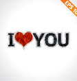 Label I love you paper texture sticker tag vector image vector image