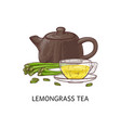 lemongrass yellow tea concept with clay and vector image vector image
