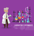 man near chemical flasks and pipes vector image vector image
