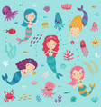 mermaids and sea seamless pattern vector image
