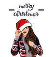 merry christmas and happy new year girl image vector image vector image