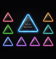 neon abstract triangle set glowing led lamp frame vector image