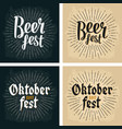 oktoberfest 2017 and beer fest lettering with rays vector image vector image