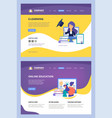 online courses landing web learning training vector image vector image