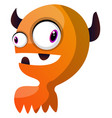 orange monster with horns on white background vector image vector image