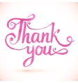 Pink Thank you hand-drawn sign vector image