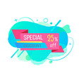 poster discount and special off label vector image