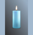 realistic detailed 3d blue candle on a transparent vector image vector image