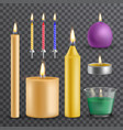 realistic flame and light burning candle set vector image vector image
