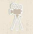 Retro movie camera icon vector image