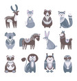 scandinavian animal cute kids animals flat baby vector image vector image