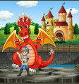 scene with dragon and knight vector image vector image
