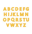 set of letters out of cheese alphabet vector image