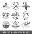 set of modern carpentry labels vector image