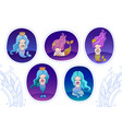 set of stickers with cute cartoon little mermaids vector image