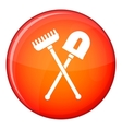 Shovel and rake icon flat style vector image vector image