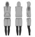 sleeveless hoody shorts and jogging pants vector image vector image