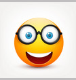 smiley with blue eyesemoticon yellow face with vector image vector image
