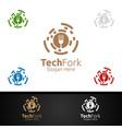 tech fork food logo for restaurant logo vector image vector image