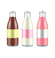 Three glass milk bottles Chocolate classic and vector image