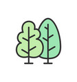 trees forest flat color line icon vector image vector image