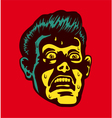 Vintage scared man with terrified face vector image