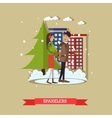 young couple with sparklers vector image