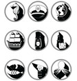 Nautical elements III icons in knotted in black vector image