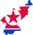 Map of North Korea with national flag vector image