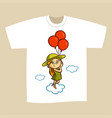 t-shirt print design girl with balloons vector image