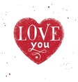 Love you type design over hand drawn heart vector image