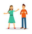aggressive young woman woman shouting at man vector image
