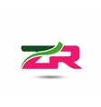 Alphabet Z and R letter logo vector image