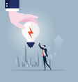 big hand gives idea light bulb to businessman vector image vector image