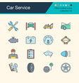 car service icons filled outline design vector image