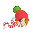 cartoon christmas girl elf head icon vector image vector image