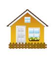comfortable yellow facade house with garden and vector image vector image