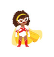 comic brave girl kid with curly hair in superhero vector image vector image