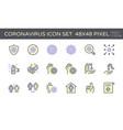 coronavirus disease and prevention icon set vector image vector image
