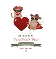 couple funny valentine cats zorro cat and his vector image vector image