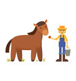 farmer with apple and horse cartoon vector image