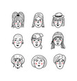 female faces doodle portraits of girls vector image