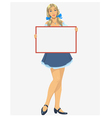 Girl with a blank poster vector image