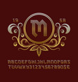 golden creative monogram template in decorative vector image vector image