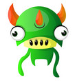 green monster with triple horns on white vector image vector image